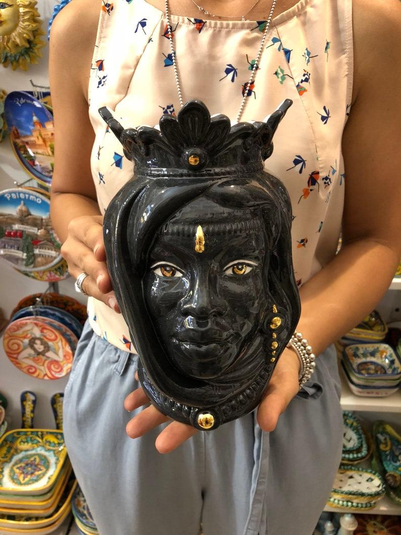 17 Black Artisan with Gold details Sicilian Heads Ceramic Caltagirone cm H 25 L