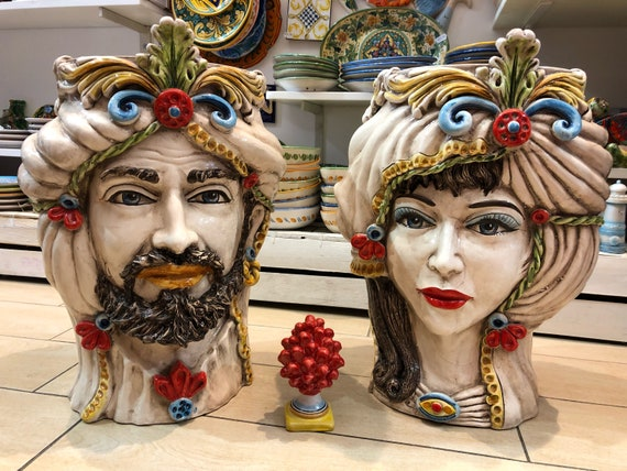Teste Di Moro Caltagirone.Teste Siciliane Ceramica Di Caltagirone Cm H 47 L 36 Artigianale Decorazione Tradizionale