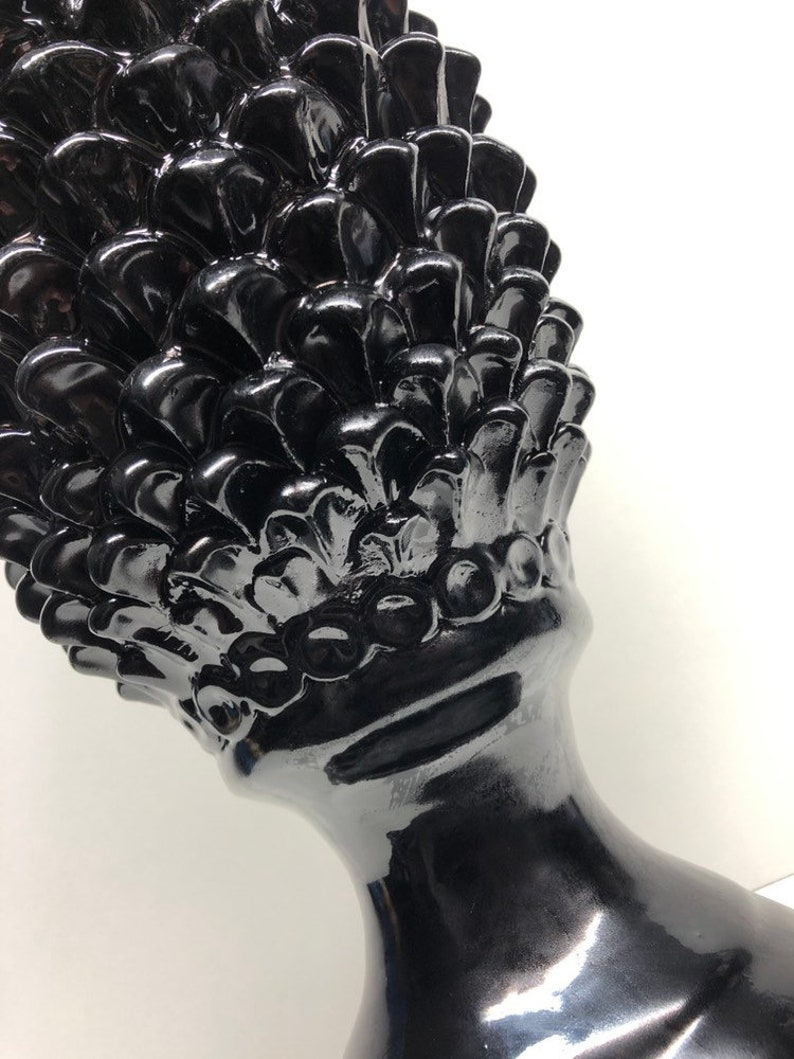 Pigna Ceramica di Caltagirone cm H 45 Artisan Black Modern Line