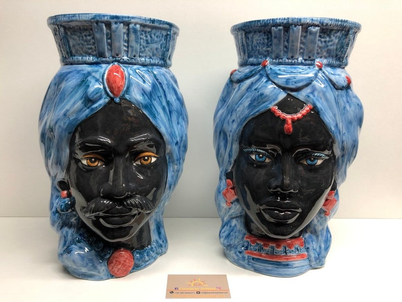Sicilian Heads Ceramics of Craft Caltagirone cm H.38 L.24 Crown Straight Ancient Blue Turban