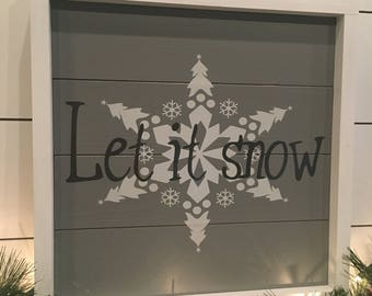 Christmas Let It Snow Wood Sign