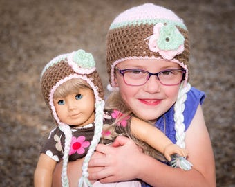Matching Doll and Me Flower Earflap Hat Pink, Brown and Green