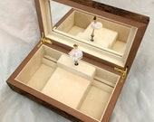 Flower and Butterfly Music Box with Figurine Inside, Hand Crafted Wooden Musical Jewelry Box with Inlaid Marquetry ballerina dancers angel