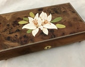 Lily Music Box, Hand Crafted Wooden Musical Jewelry Box with Lilies Inlaid Marquetry, Musical Jewellery Box in Burr Elm Wood