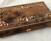 J5A Hand Crafted Wooden Musical Jewelry Box with Scroll Inlaid Marquetry, Musical Jewellery Box in Burr Elm Wood