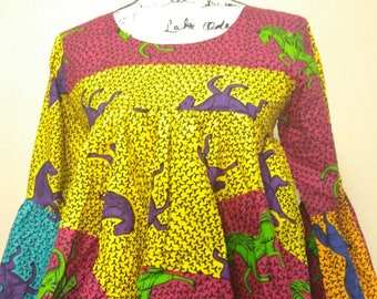 African Top Ruffle Sleeve/African Print Top/Ankara Top/African Blouse/ Peplum Top/Ruffle Top/Ankara Peplum/African Inspired Fashion Top