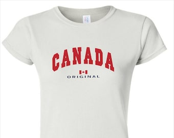 6207b24c9c0633 Canada Shirt for Women. Canadian Souvenir T shirt for Her with Flag.  Handmade