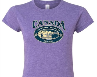 78702cb27 Canada Authentic Outdoor Shirt. Canada Printed T shirt for Women. Canadian  T shirt Available on Various Colour