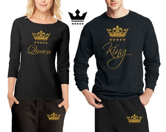 13ff553757 His & Hers King \ Queen Pajamas - Couple Matching Pajama Set \ Shirts + Pants  Pjs Limited Edition PJ - Best Engagement Gift Anniversary Gift