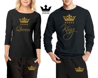 6a9f57f4a His & Hers King \ Queen Pajamas - Couple Matching Pajama Set \ Shirts +  Pants Pjs Limited Edition PJ - Best Engagement Gift Anniversary Gift