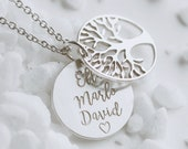 Tree of life chain chain with engraving family chain