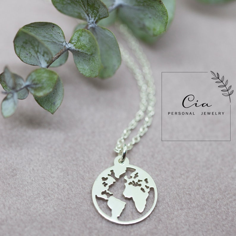 gift platelet necklace gilded fathergoer World map necklace chain world sister 925 er silver globe travel rose gold wanderlust
