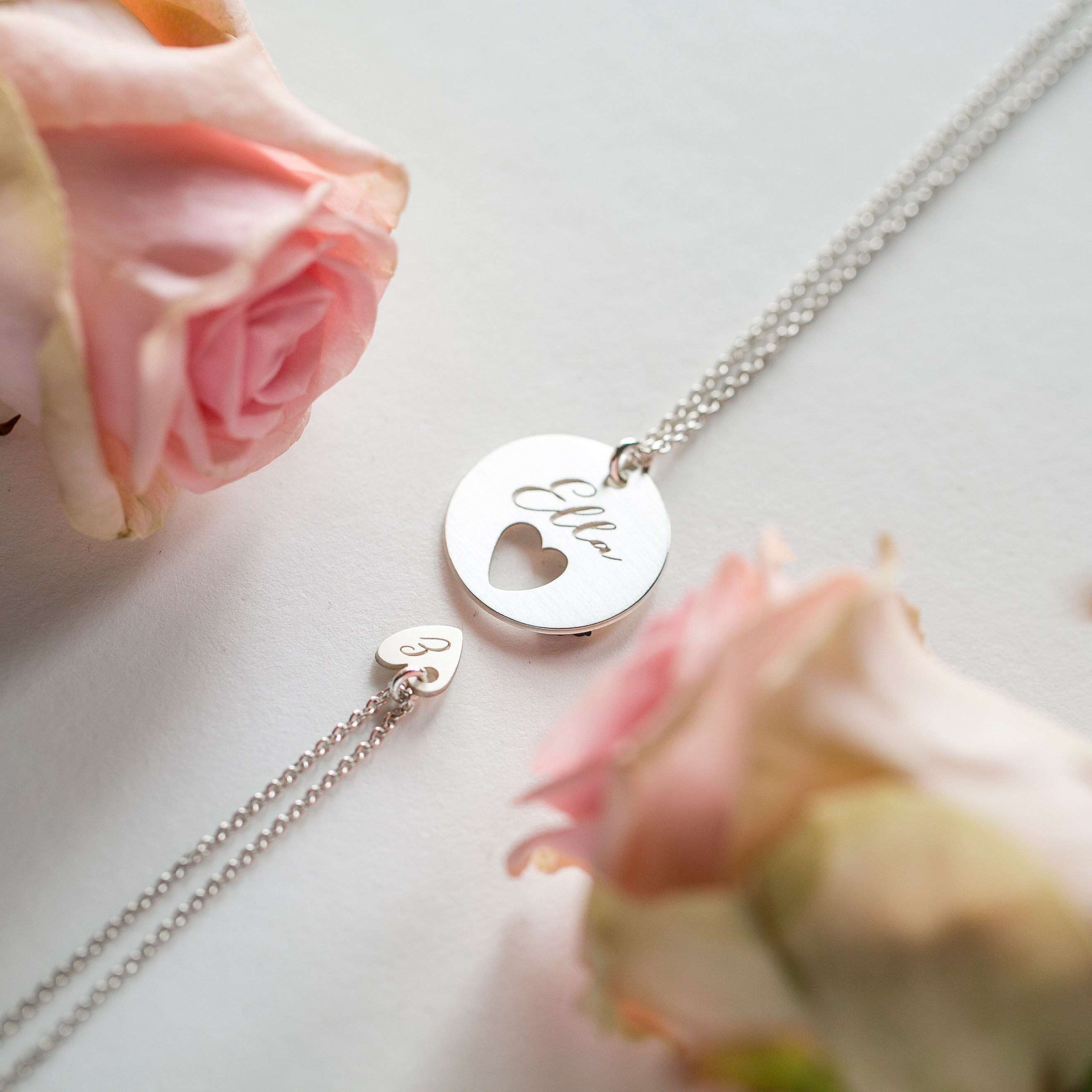Christening Holy Communion Flower Bracelet  Engraved Heart Charm Gift in Pink