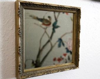 Framed Mirror, Small Mirror, Decoration Mirror, Vintage Mirror, Square Mirror, Diamond Shape Mirror, Ornate Gold Accent Mirror, Silver Frame