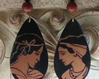 Artistically Painted Red Attic Earrings