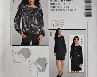 80234682e4 Burda 7294. Misses dress and top pattern. Elastic waist blouse pattern.  Straight dress pattern. SZ 10-22. Uncut.
