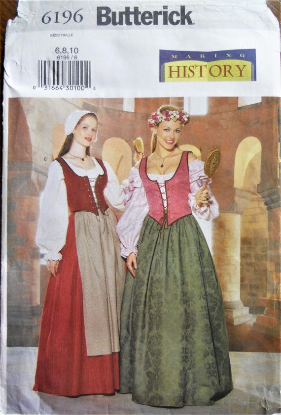 Butterick 60 Medieval Dress Pattern Medieval Serving Girl Etsy Enchanting Medieval Dress Pattern
