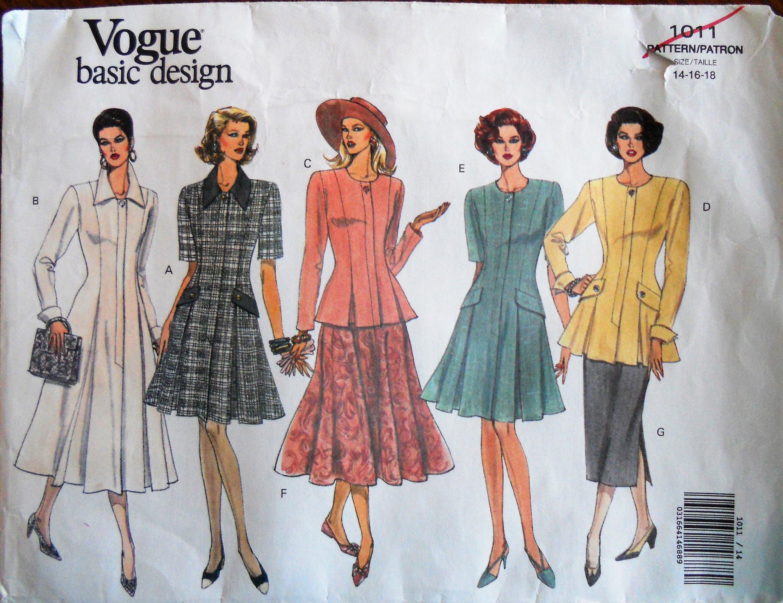 1c0e471533 Vogue 1011. Misses dress and dress suit pattern. Vintage 1992