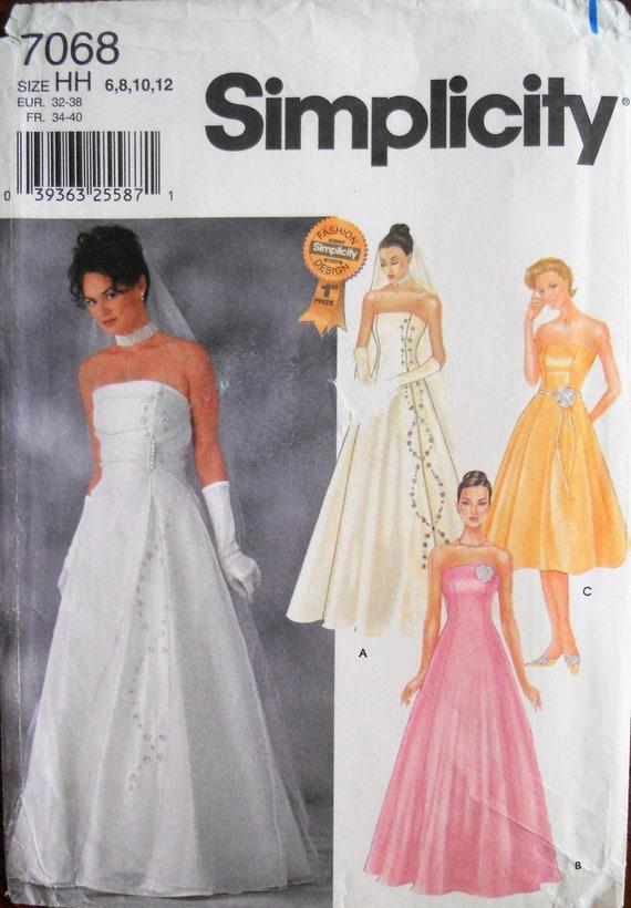 Einfachheit 7068. Brautkleid-Muster. Trägerlosen Hochzeit | Etsy