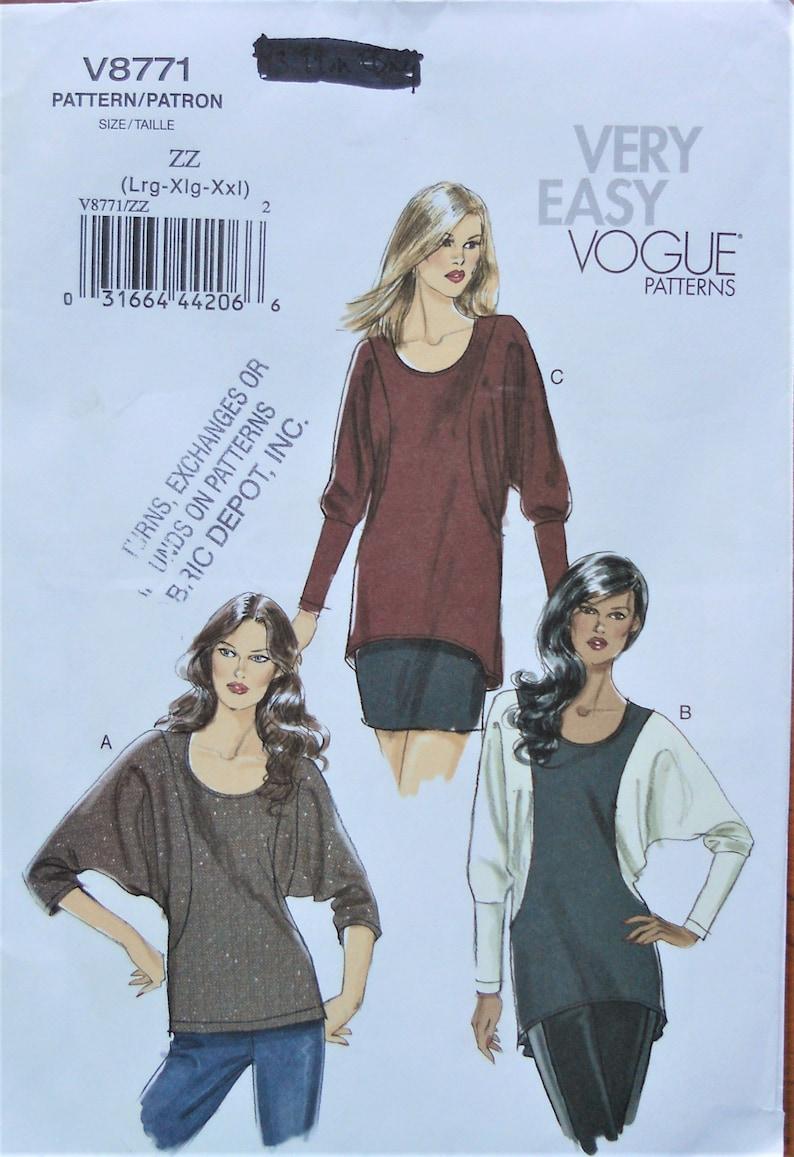 c88bc5fa3d8e2a Vogue 8771. Misses top pattern. Tunic top pattern. Plus size   Etsy
