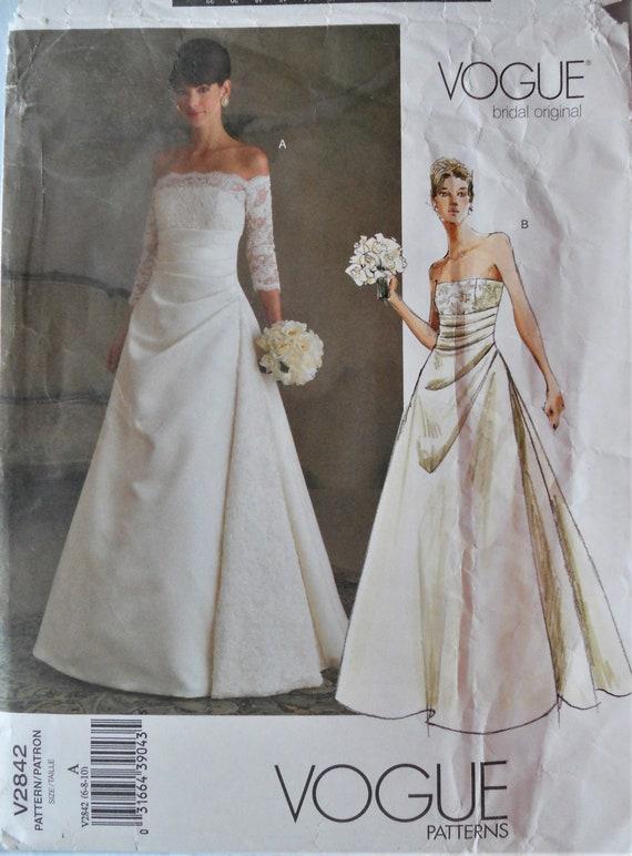 Vogue 2842 Bridal Gown Pattern Vogue Bridal Original Pattern Strapless Wedding Dress Formal Bridal Gown Pattern Sz 6 10 Uncut