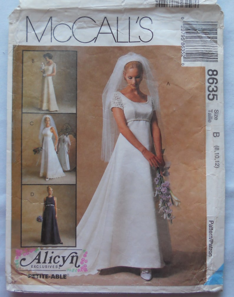 Mccall S 8635 Bridal Gown Pattern Wedding Dress Pattern Bridesmaid Dress Pattern Empire Waist Formal Bridal Fashion Sizes 8 10