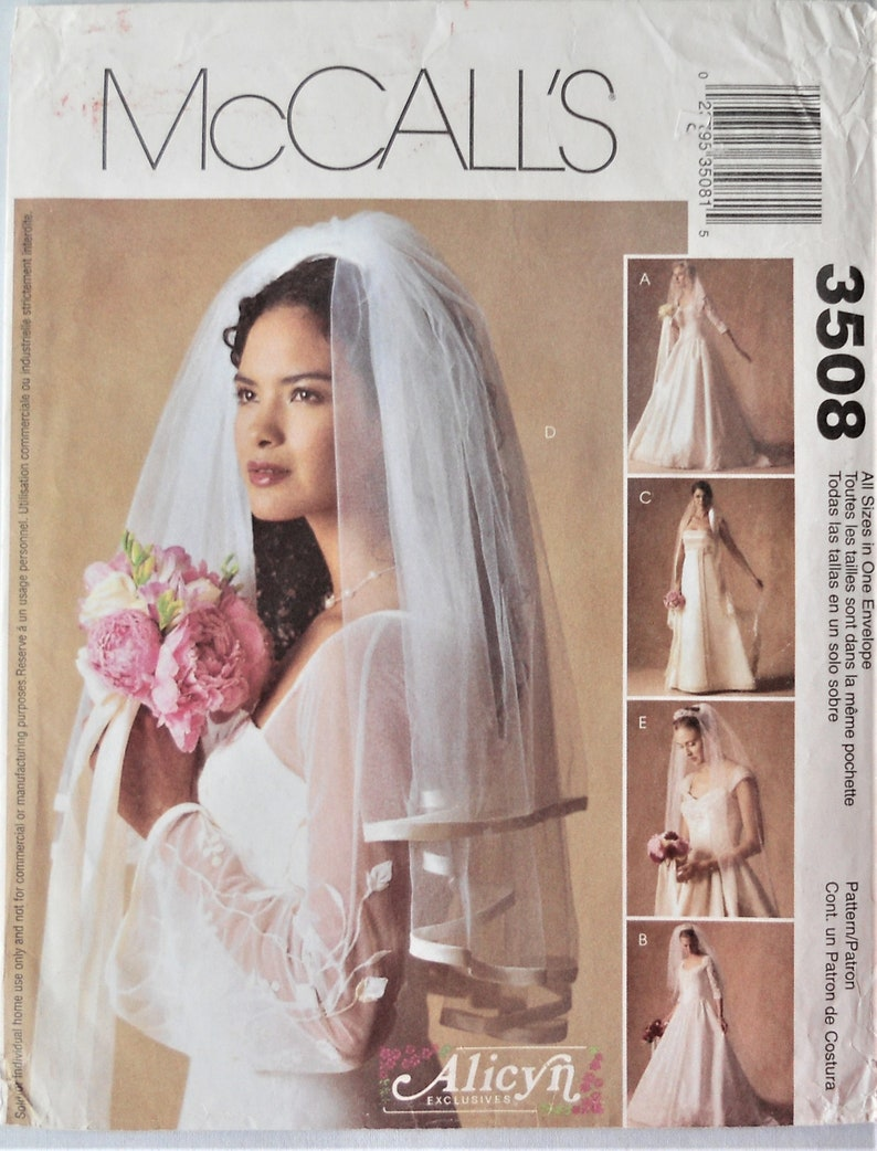 Diy Wedding Veil.Mccall S 3508 Wedding Veils Pattern Bridal Veil Pattern Cathedral Bridal Veil Lace Edged Veil Diy Wedding Veil Pattern Uncut