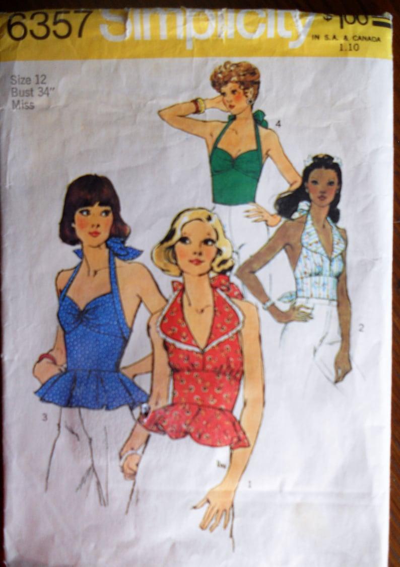 2aceb57b2de20 Simplicity 6357. Halter tops pattern. Vintage 1974 halter