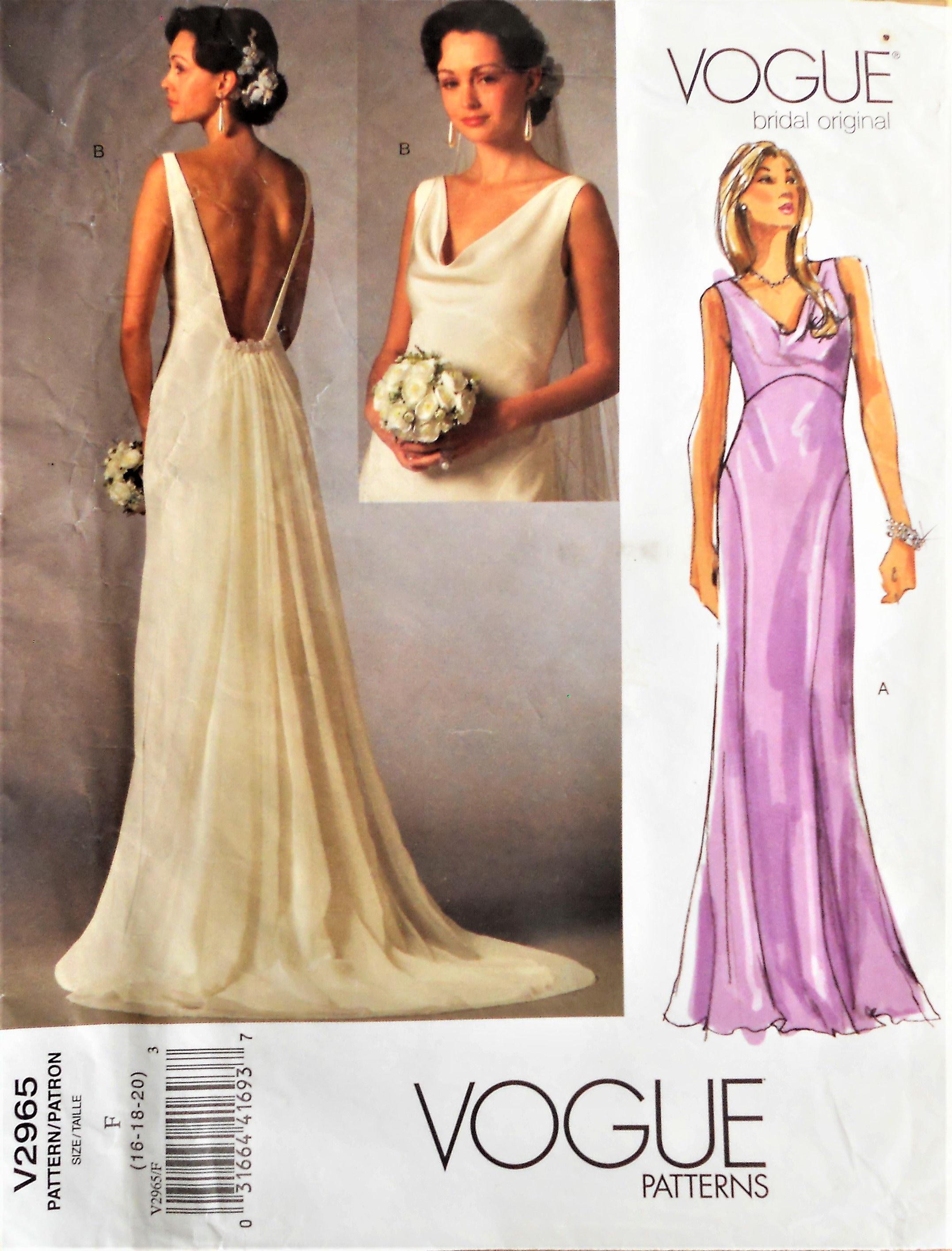 Vogue 2965 Bridal Gown Pattern Vogue Bridal Original Dress Pattern Wedding Dress Pattern Slip Style Bias Bridal Gown Fit Flare Bridal