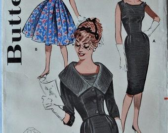 Butterick 9563. VTG 1960 dress pattern. Sheath dress with portrait collar jacket pattern. Wiggle sheath dress. Full dress pattern. Size 14.