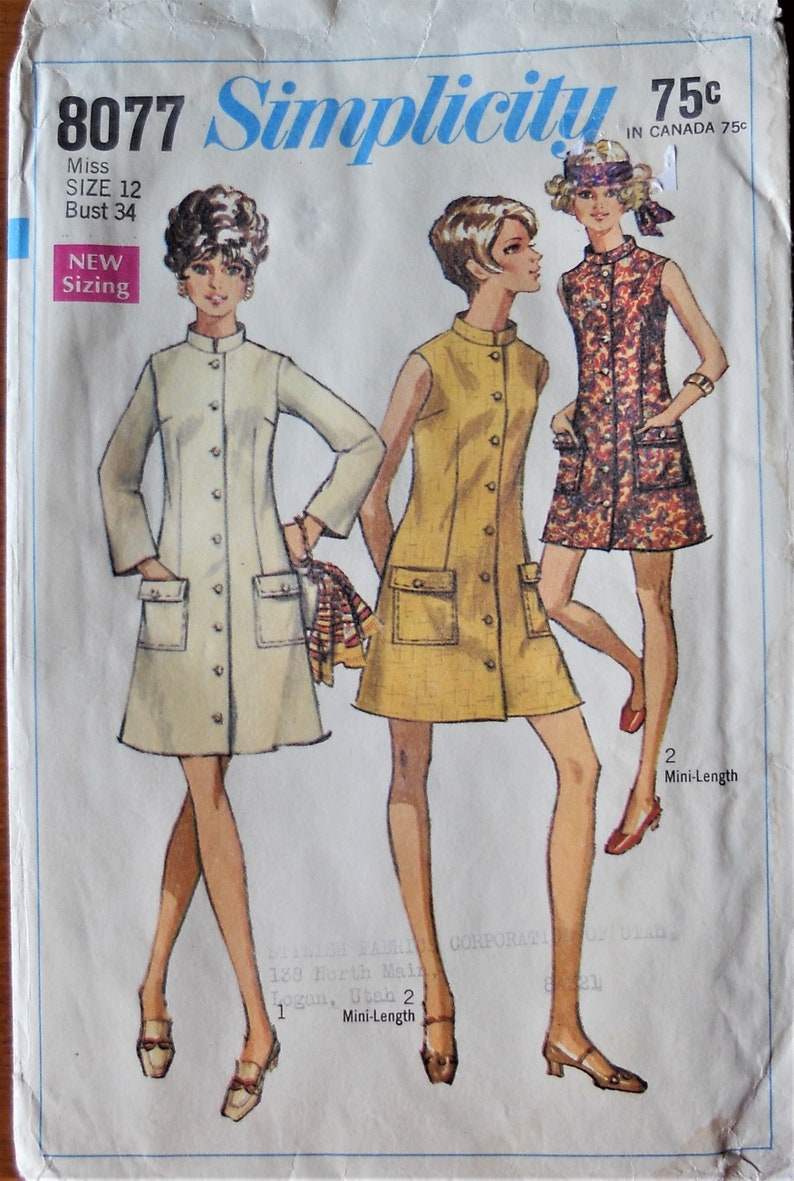 ee3974c8b5 Simplicity 8077. Misses coat dress pattern. Vintage 1968