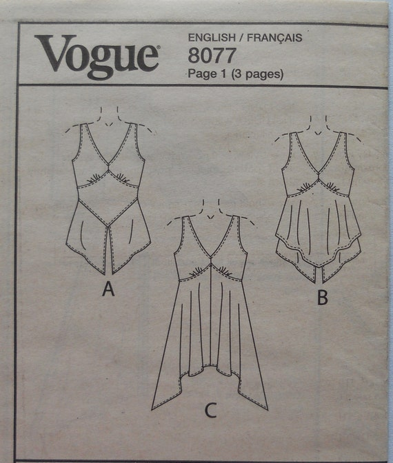 Mode 8077. Verfehlt oben Muster. Tunika mit Taschentuch Saum   Etsy