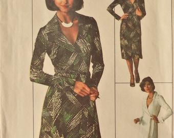 Simplicity 7705.  Jiffy wrap dress pattern. Vintage 1976 wrap dress pattern.  Maxi wrap dress. American Hustle style dress.  Size 12. Uncut.