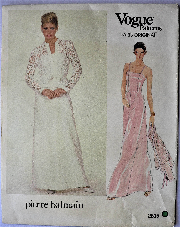 Vogue 2835 Bridal Gown Pattern Vintage 1980s Pierre Balmain Vogue Paris Original Pattern Pierre Balmain Evening Bridal Gown Sz 12