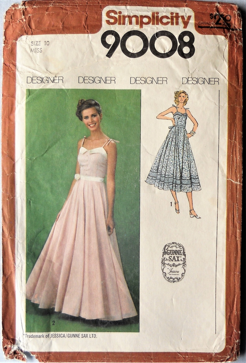 Simplicity 9008. Gunne Sax dress pattern.