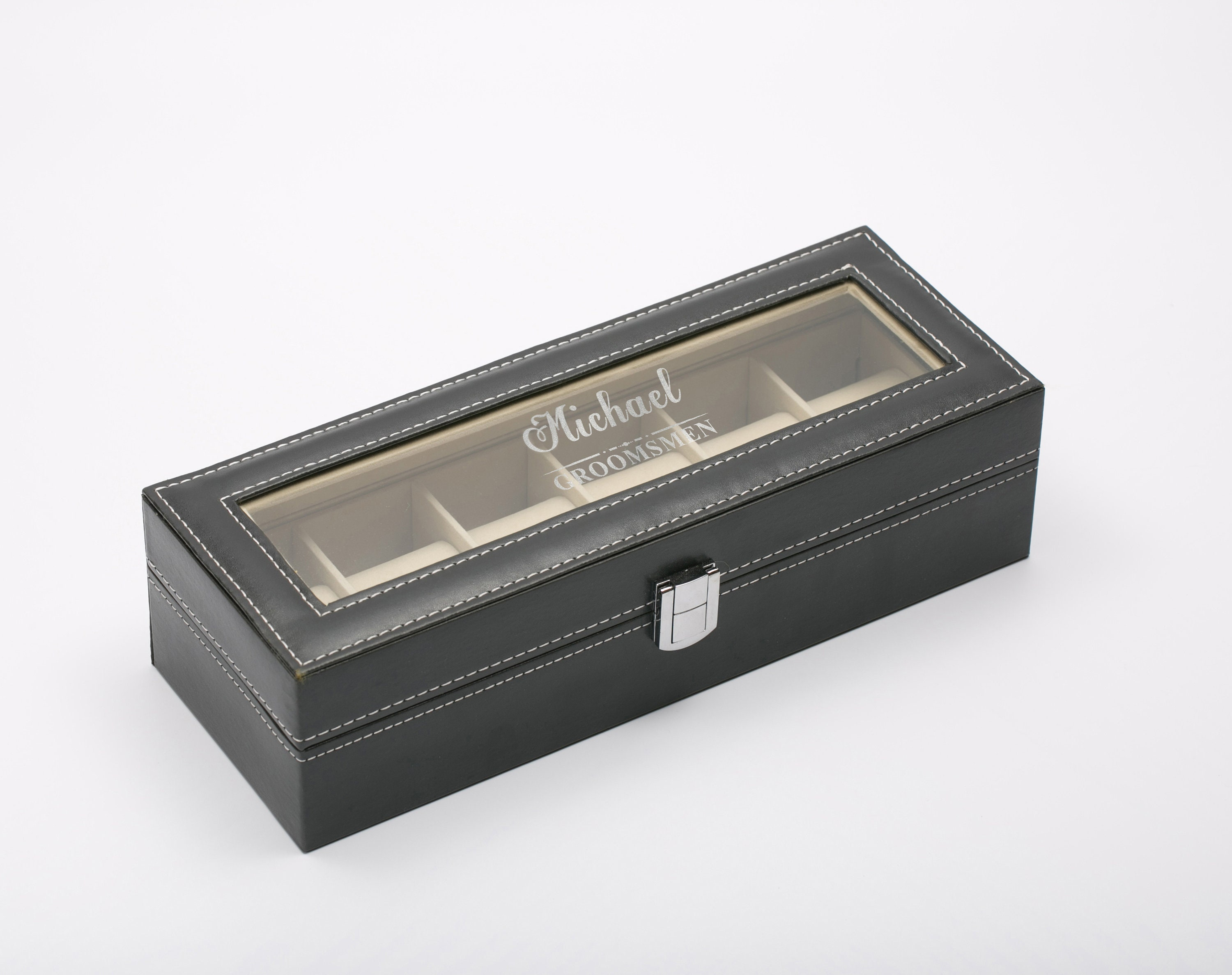 Personalized Watch Box Customized Groomsmen Gifts Pu Leather Watch Holder Gift For Him