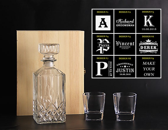 Design#1 Custom Engraved Groomsman Gifts Ideas with Free Engraving Groomsmen Whiskey Decanter Gift