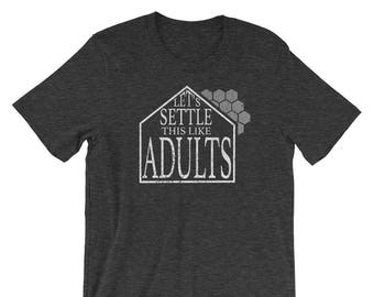 Let's Settle This Like Adults - Settlers of Catan Shirt, Board game Tee, Boardgame Shirt, Funny Shirt, Geeky Tshirt, Nerdy Clothes Table Top