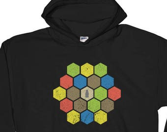 Catan Distressed Board Hooded Sweatshirt - Settlers of Catan Hoodie, Board game Sweater, Funny Shirt, Geeky Tshirt, Nerdy Clothes, Table Top