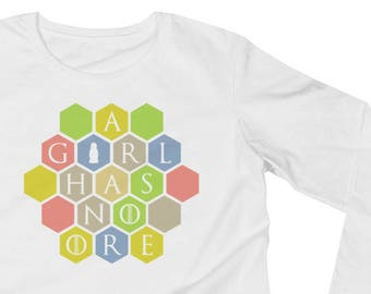 A Girl Has No Ore Ladies' Long Sleeve T-Shirt - Settlers of Catan Shirt, Boardgame Tee, Funny Shirt, Geeky Tshirt, Nerdy Clothes, Table Top