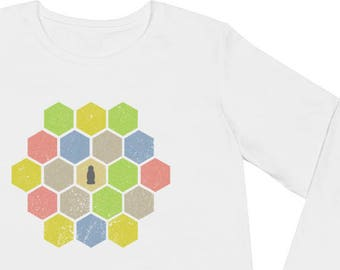 Distressed Catan Ladies' Long Sleeve T-Shirt - Settlers of Catan Shirt Board game Tee Boardgame Shirt Funny Shirt Geeky Tshirt Nerdy Clothes