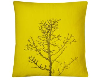 Arboretum / Winter Tree Cushion Cover / Yellow