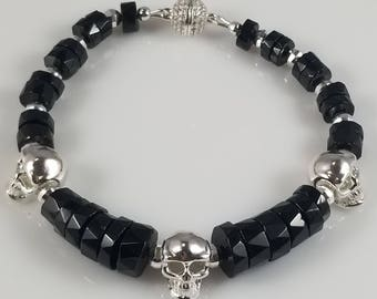 Black Spinel Bracelet with 925 Sterling Silver Skulls
