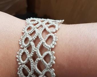 Tatting bracelet, Needle Tatting Jewelry, Frivolite Jewelry, gift for her