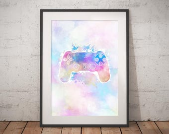 Watercolor Gamer Printable Wall Art, Geeky Decor, 8x10, 5x7
