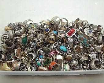 79c2e6458aa 100 Grams Assorted Vintage-New Sterling Silver 925 Ring Lot Wholesale Bulk  Resale
