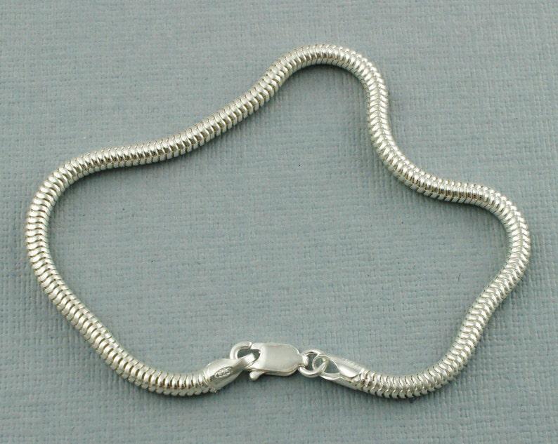 Silver Snake Chain Bracelet Sterling Silver Snake Chain Bracelet 7.5 925 Snake Chain 3mm Snake Chain Bracelet