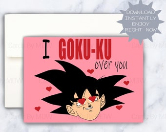 DBZ Valentines Card Goku Love Dragon Ball Vday DIY Printable Dbz Fan Gift