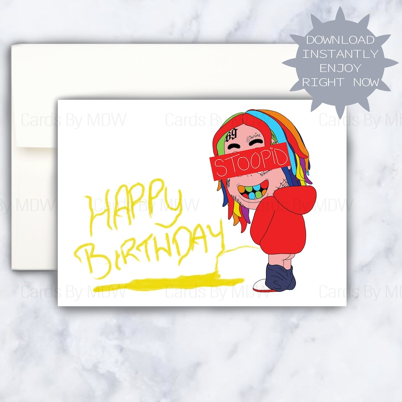 6ix9ine Birthday Card Funny Bday Sixnine 69