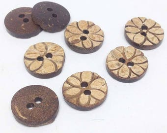 10 Carved Wooden Buttons- 11mm dia - 10pcs- sewing button, knitting, crochet, scrapbook - WBUT-26